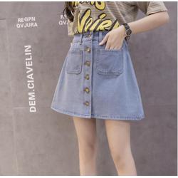 Chân váy jeans chữ A hàng khuy giữa thời trang ZAVANS