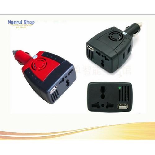Worldmart bộ chuyển nguồn điện trên ô tô từ 12v ra 220v có quạt tản nhiệt
