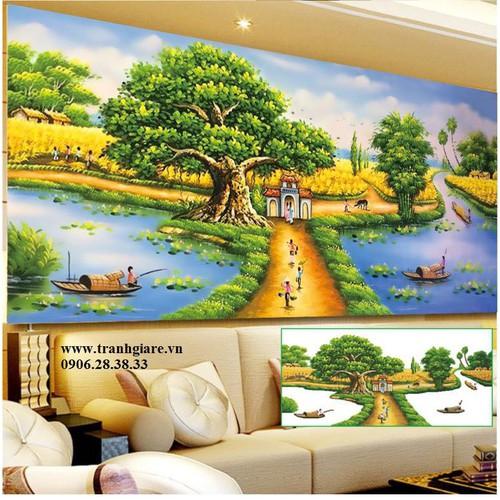 tranh đính đá phong cảnh 120x60cm