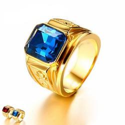 Nhẫn nam thời trang chạm rồng vàng mạ 24k, mặt đá đỏ xanh biển RC183