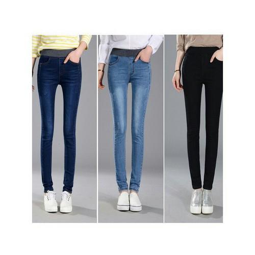 Quần jeans nữ dài lưng thun Q0513