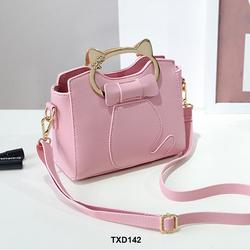 Túi đeo chéo nữ da mềm họa tiết mèo nơ siêu cá tính màu hồng