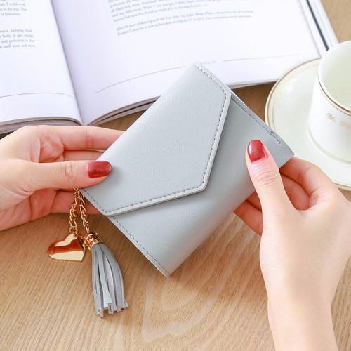 Ví bóp ngắn nữ Nắp V đa chức năng tiện dụng Phiên bản Hàn Quốc