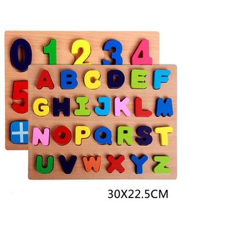 Combo 02 bộ ghép số và chữ cái  bằng gỗ