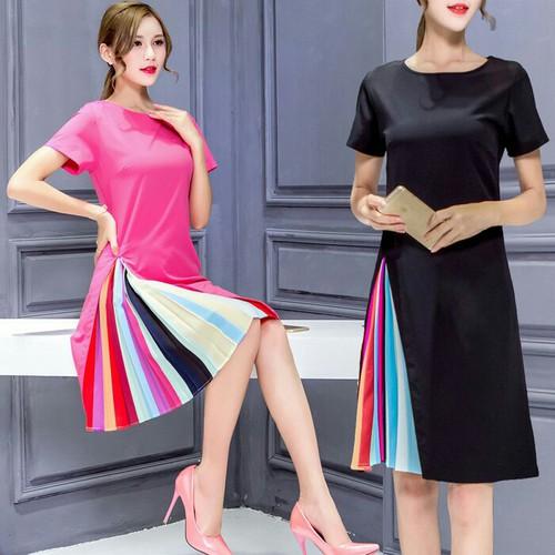 Đầm suông nữ phối màu D1010