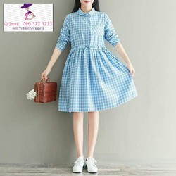 Đầm Babydoll sơ mi caro xanh
