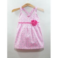 Đầm kate yếm in họa tiết trái tim chéo lưng mùa hè cho bé đi biến