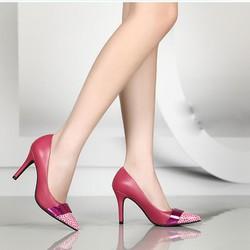 Giày cao gót mũi nhọn da beo phong cách- CG1918
