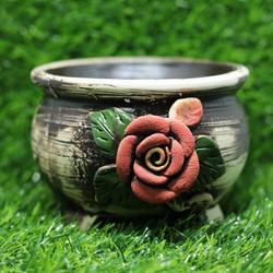 Chậu men sứ Bát Tràng Hoa hồng đắp nổi handmade hàng xuất khẩu