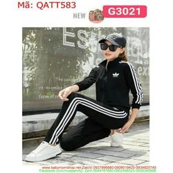 Sét thể thao nữ dài sọc 3 viền trẻ trung năng động QATT583