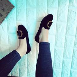 Giày Búp Bê Chất Nhung Khoá Tròn