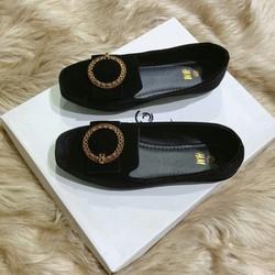 giày búp bê nhung khóa tròn