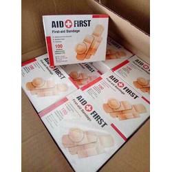 Hộp băng gạc100 miếng trị thương băng go Aid First đa kích thước - 098