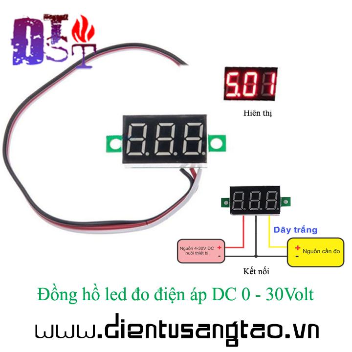 Đồng hồ led đo điện áp DC 0 - 30Volt 1