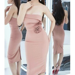váy hàng thiết kế hoa hồng eo