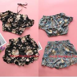 Set áo ống và quần hoa phối bèo Quảng châu