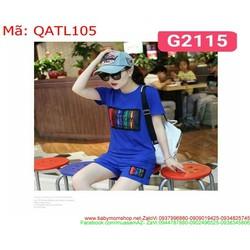 Đồ thể thao nữ short sọc màu sành điệu trẻ trung QATL105