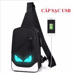 Túi đeo chéo dạ quang  phát sáng hình Mắt + Tặng Cáp Sạc USB