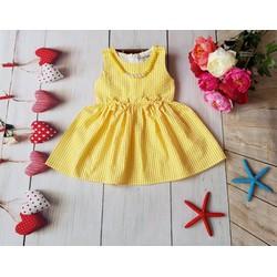 Đầm caro bé gái đính dây chuyền cực xinh - Vàng