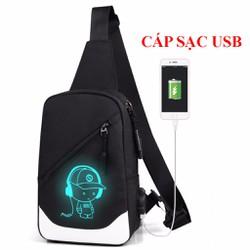 Túi đeo chéo dạ quang phát sáng Hót Nhất 2018 + Tặng Cáp Sạc USB