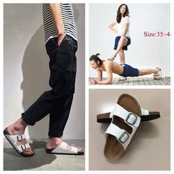 Dép sandal nam nữ quai pu trắng đế trấu unisex
