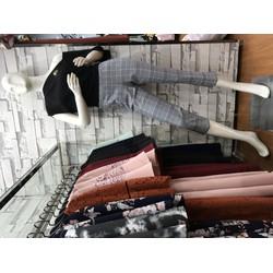 Set áo lệch vai đen- quần lửng caro ôm- Minh tâm fashion S18002
