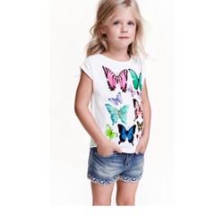 áo thun bé gái in hinh bướm