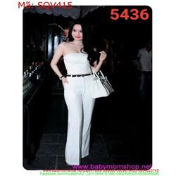 Sét áo ống cúp trắng và quần ống suông thời trang SQV415