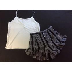 Set bộ đùi áo 2 dây quần sọc S02