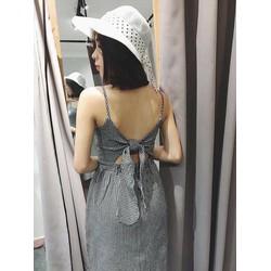 Đầm caro nơ lưng