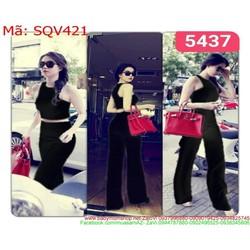 Sét áo kiểu croptop và quần ống loe sành điệu sang trọng SQV421