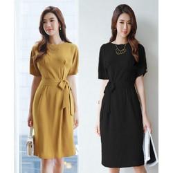 Đầm Công Sở Chít Eo Sang Trọng - M,L,XL - K61 - Vàng đồng, đen