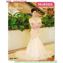 Đầm dạ hội maxi đuôi cá bẹt vai ngang vải ren nổi sang trọng DDH328