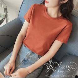 [Mua 2 Áo Tặng 1 Khẩu Trang Su Dày Kháng Khuẩn] Áo Cotton Thun Thái Trơn Cổ Tròn Cao Cấp Có 2 Size - Yuna Boutique