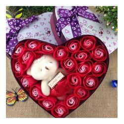Hộp quà 20 bông hồng + gấu   hộp quà sinh nhật   Quà Tặng