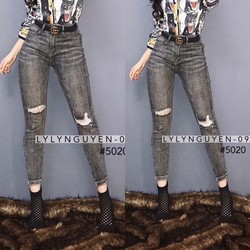 Quần Jeans rách màu khói xám - hàng nhập Quảng Châu