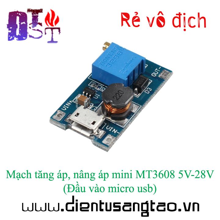 Mạch tăng áp, nâng áp mini MT3608 5V-28V Đầu vào micro usb 1