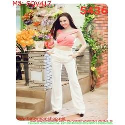 Sét áo kiểu sexy và quần ống suông sành điệu SQV417