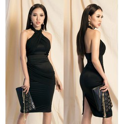 Đầm ôm body kiểu cổ yếm phối vải xéo
