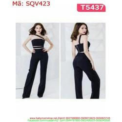 Sét áo kiểu cúp ngang và quần ống loe thời trang SQV423