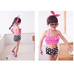 Bộ bơi bé gái quần bi xinh diện mùa hè hàng nhập y hình