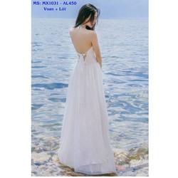 Đầm Maxi Cột Dây Cổ Đan Dây Lưng Quyến Rũ