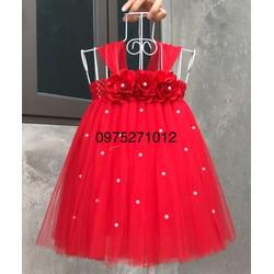 đầm tutu đỏ hoa hồng đỏ đính đa