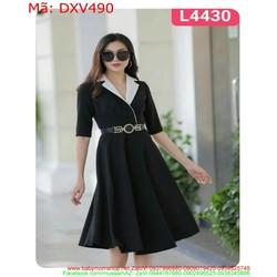 Đầm xòe công sở dạng vest viền trắng sành điệu DXV490
