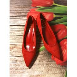 Giày cao gót nữ mũi nhọn đế nhọn 5 phân da lộn cực đẹp full box