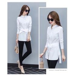 Áo sơmi trắng form dài cổ trụ