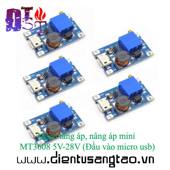 Mạch tăng áp, nâng áp mini MT3608 5V-28V Đầu vào micro usb 6