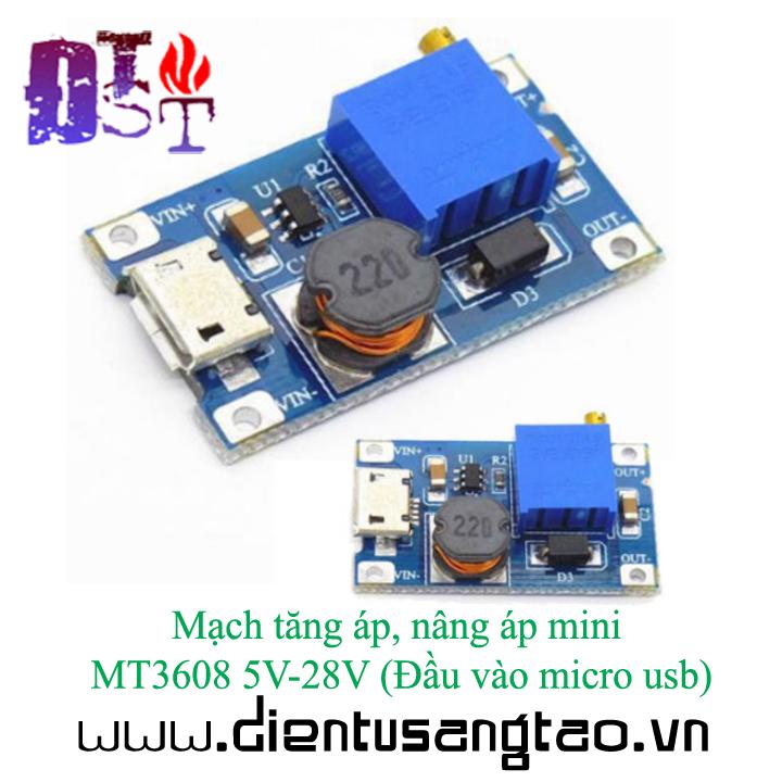 Mạch tăng áp, nâng áp mini MT3608 5V-28V Đầu vào micro usb 3
