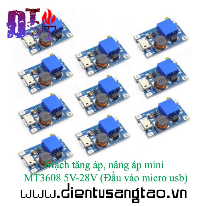 Mạch tăng áp, nâng áp mini MT3608 5V-28V Đầu vào micro usb 7