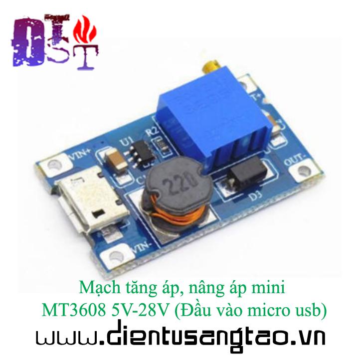 Mạch tăng áp, nâng áp mini MT3608 5V-28V Đầu vào micro usb 5